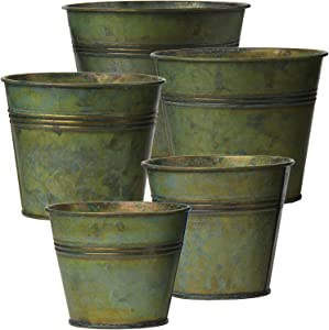 Galvanized Tin Planter Vintage Galvanized Metal Bucket Pot for Farmhouse Wall Decor Hanging Planter Indoor Home Decor Flowers Succulents Herbs Plants