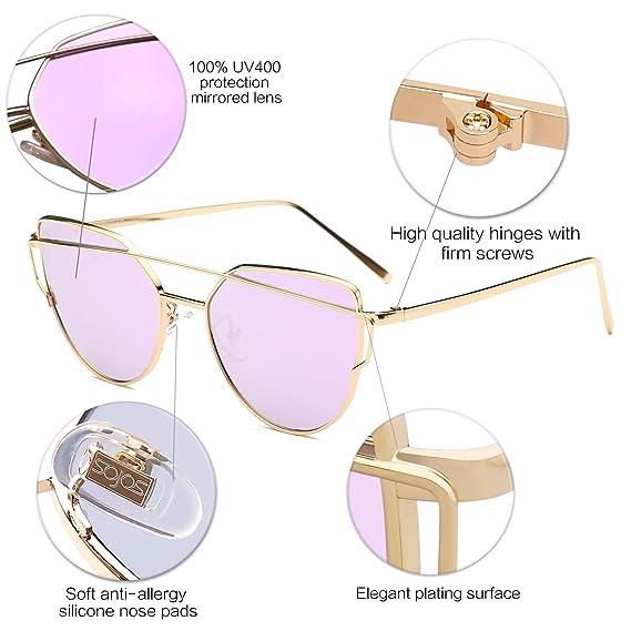SOJOS Gafas De Sol De Moda Marca Metal Para Mujer-Lentes Planos De Espejo- Con Estilo Ojo De Gato SJ1001 Dorado Frente/Morado Lentes