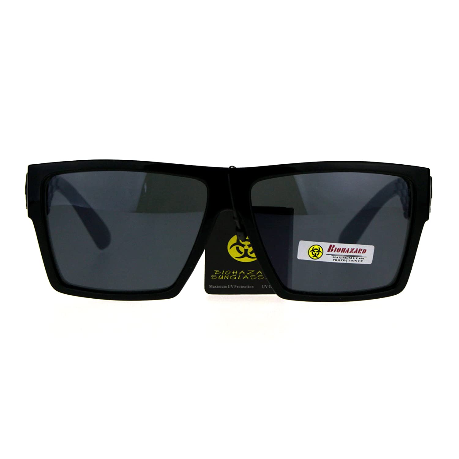 3be3106e688 Amazon.com  Biohazard Skater Mens Flat Top Squared Rectangular Gangster  Sunglasses All Black  Clothing