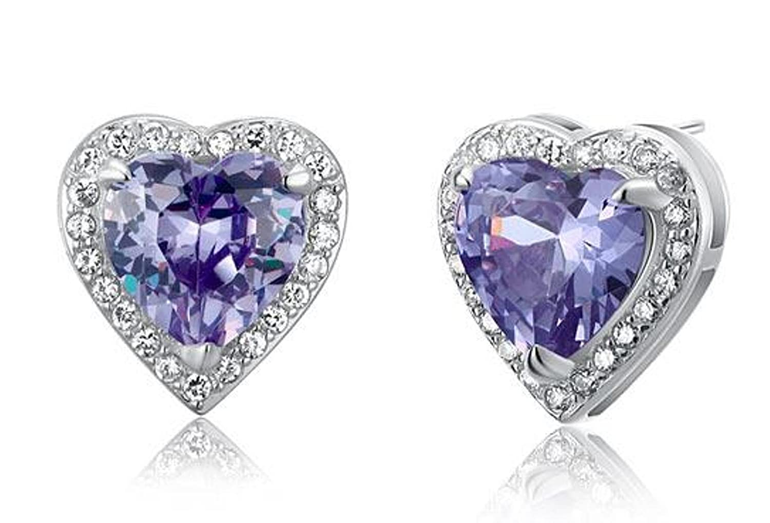 Exquisite Selebrity 3 Carat Created Purple Sapphire 925 Sterling Silver Heart Stud Earrings 8024