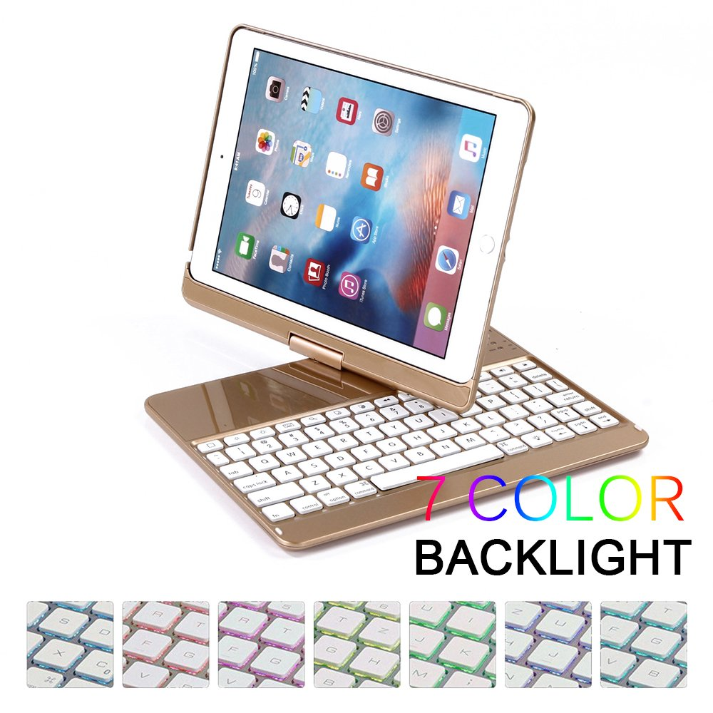 Amazon.com: HBetterTech New iPad 9.7 Keyboard Case, 7 color Backlit Bluetooth Keyboard Case Cover for Apple iPad Air & New 9.7 iPad with wireless Auto ...