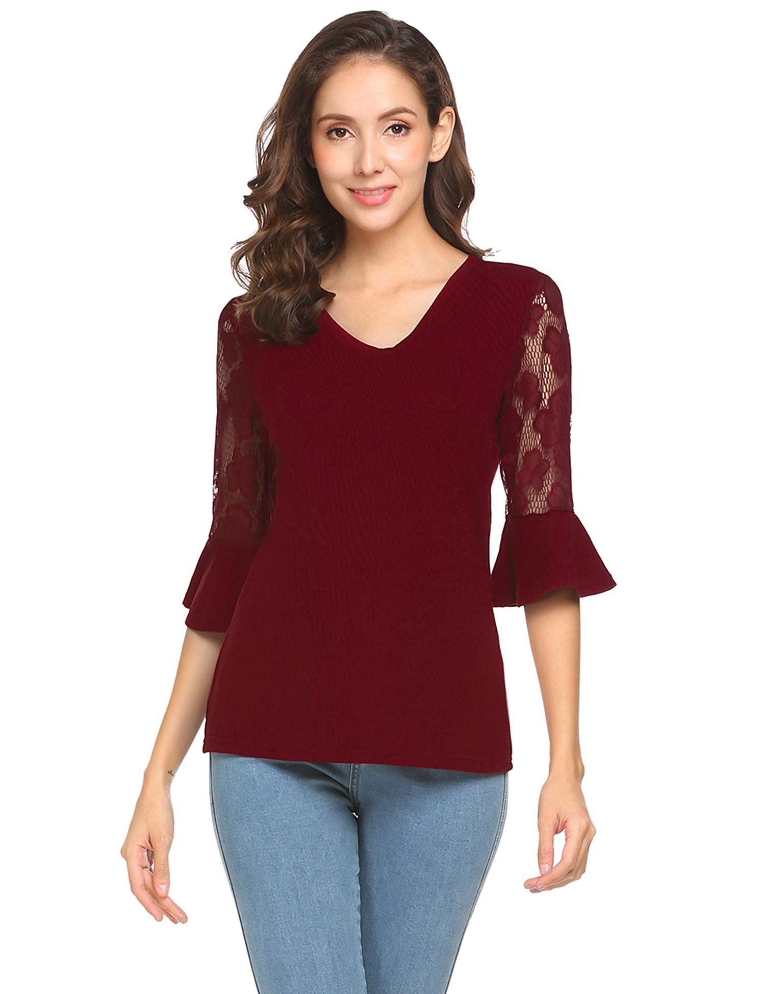 Easther Women Lace Bell Sleeve V Neck Casual Blouse Top(Small, Red, Size Small