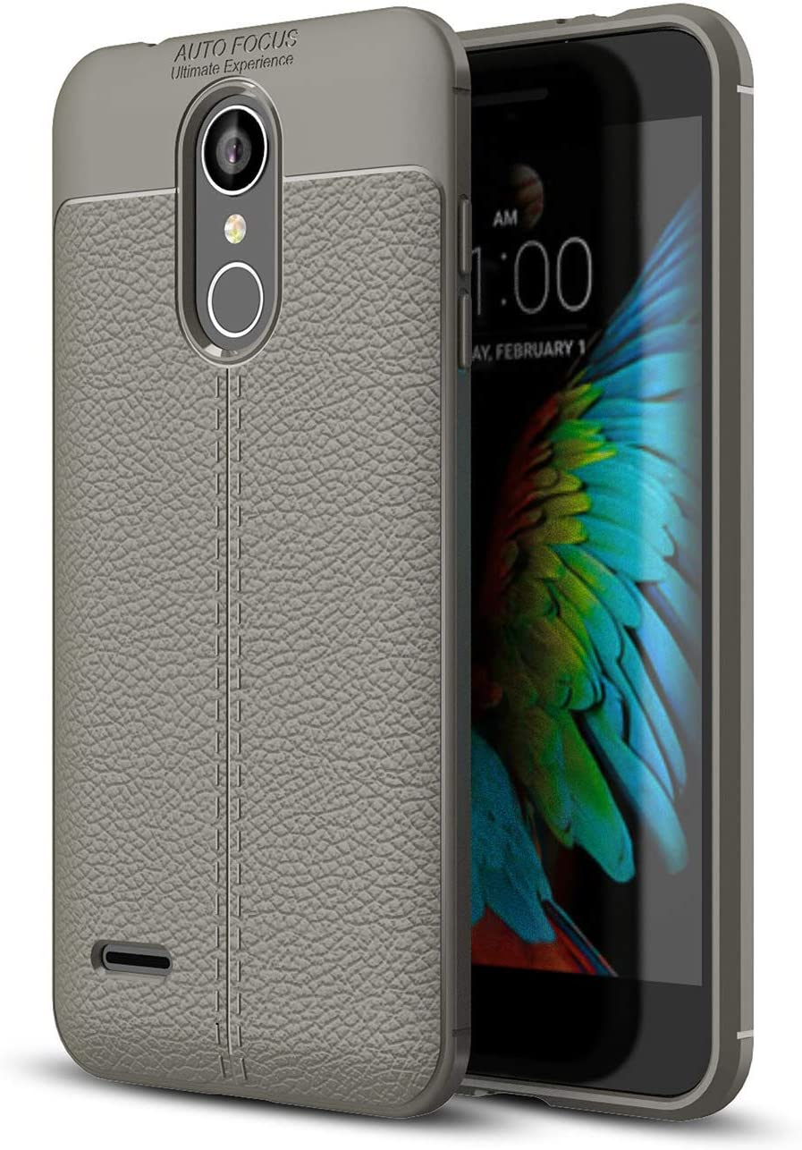 DEVMO Phone Case Compatible with LG K8 2018 TPU Bionic Leather Gel Rubber Full Body Protection Shockproof Cover Case Drop Protection Grey