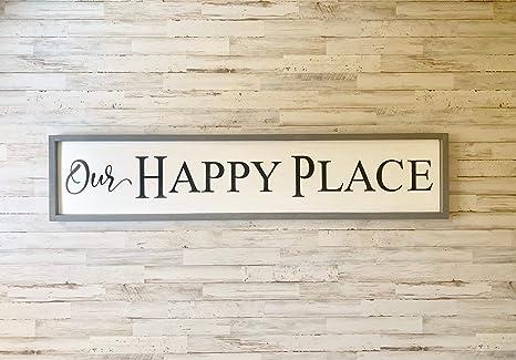 Our Happy Place Wood SignFarmhouse Style DecorHandpaintedFamily
