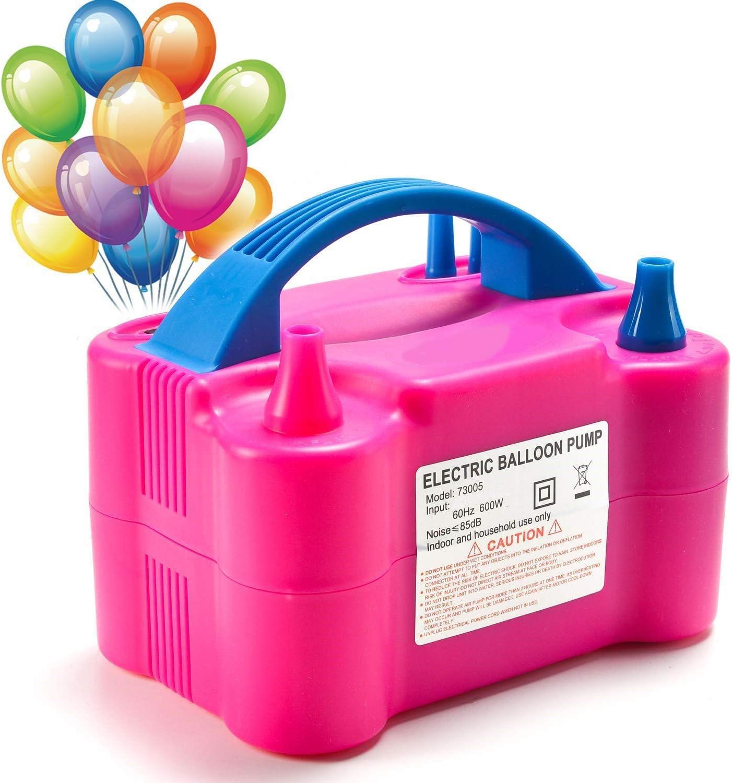 MTKD ® Inflador Eléctrico de Globos, Bomba electrica para Inflar Globos. Ideal para Fiestas y Eventos. Alta Potencia 600W Certificado CE. Color Fucsia.