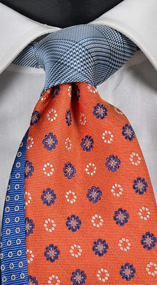 Corbata hombre naranja con micro fantasía azul y blanco nudo en ...