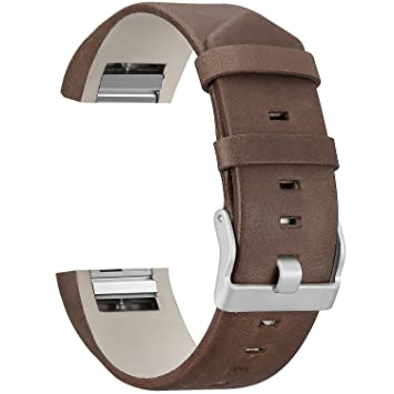 SKYLET Bands Compatible with Fitbit Charge 2, Genuine Leather Replacement  Bands for Fitbit Charge 2 Bracelet with Secure Watch Clasp (No Tracker)