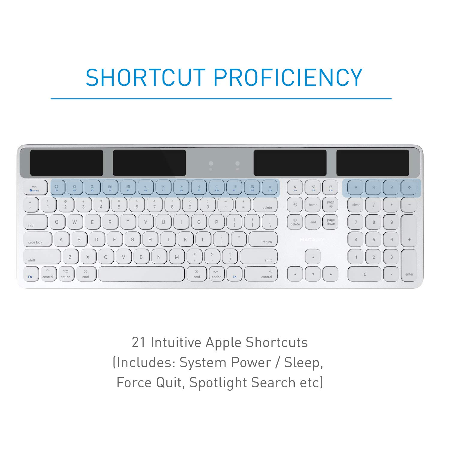 Macally Wireless Solar Keyboard for Mac Mini/Pro, iMac Desktop Computers & Apple MacBook Pro/Air Laptops | 2.4 Ghz RF USB Dongle | Caps Lock/Battery Indicators - Silver Aluminum, Gray by Macally (Image #4)