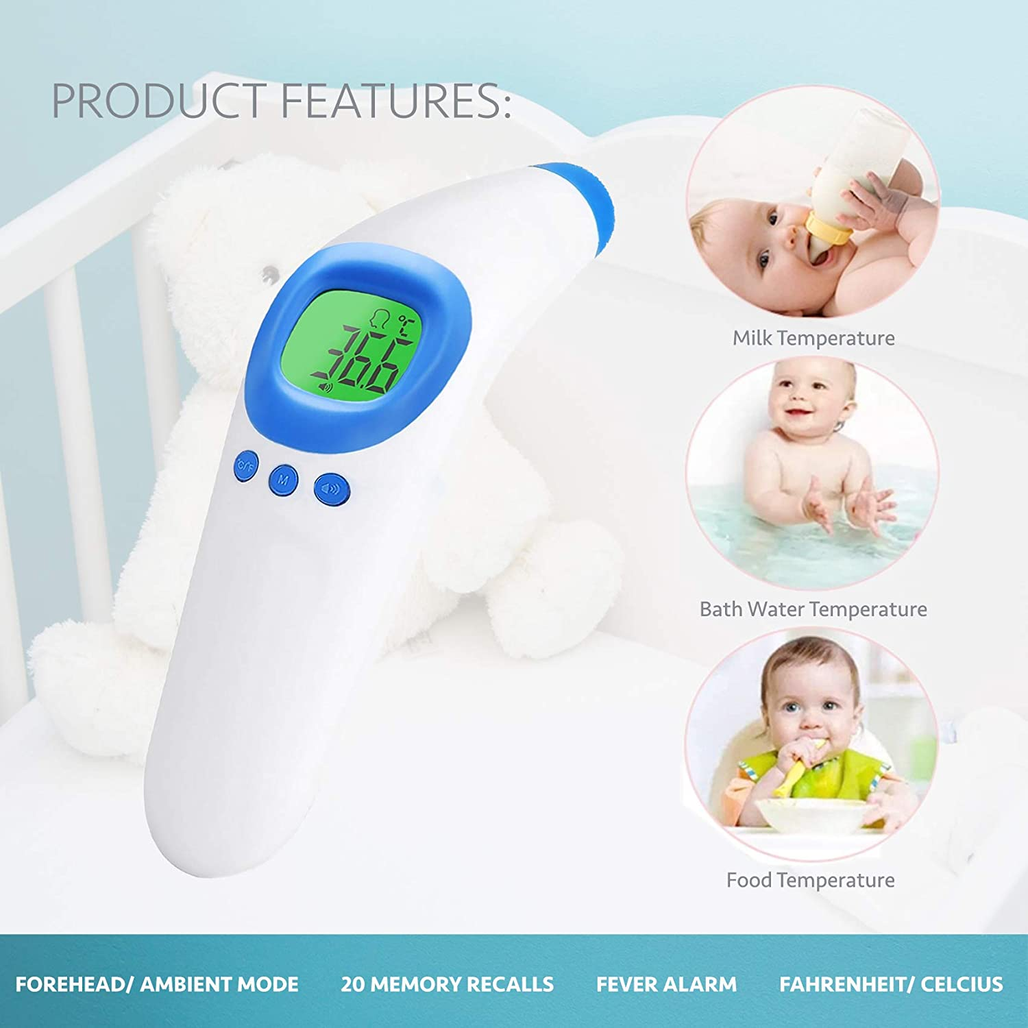 No Touch Infrared Digital Thermometer for Milk, Water & Room. Instant Fever Indicator in Celcius & Fahrenheit, Termometro Digital Baby by eillüm : Baby