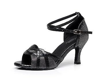 JSHOE Damen Tanzschuhe Latin Salsa/Tango/Tee/Samba/Modern/Jazz Schuhe Sandalen High HeelsBlack-heeled7.5cm-UK5...