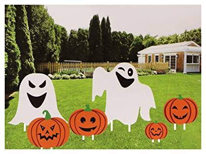 Halloween Yard Stakes.Fright Night Halloween Pumpkin And Ghost Yard Decoration Stakes 6 Pack
