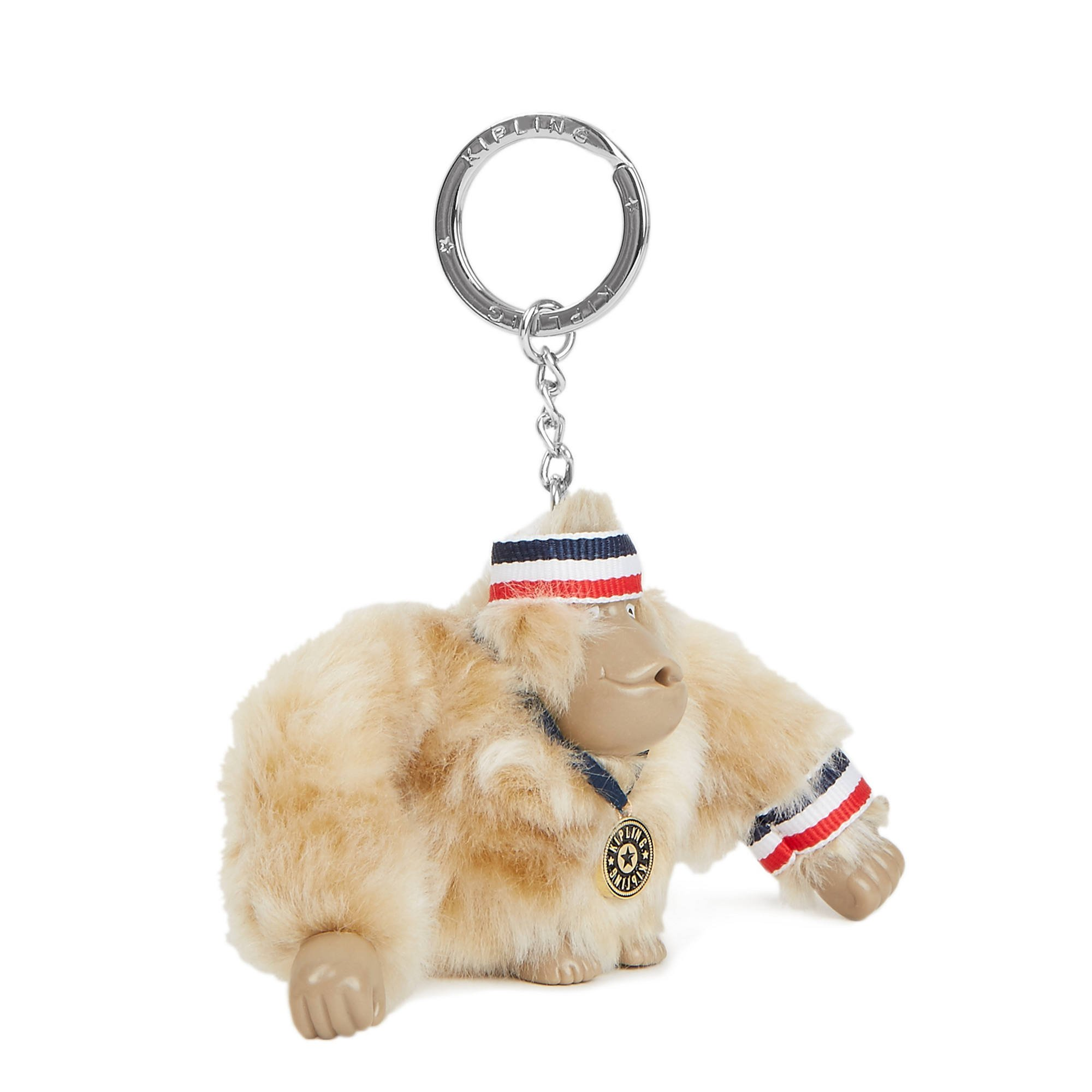 Kipling Women's Sporty Monkey Keychain One Size Silver Beige Combo