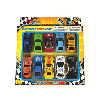 GIFTAMILLION.COM Race Car Toys for Kids, Boys or Girls - Free Wheeling Die Cast Metal Plastic Toy Cars Set of 10 Vehicles: Toys & Games