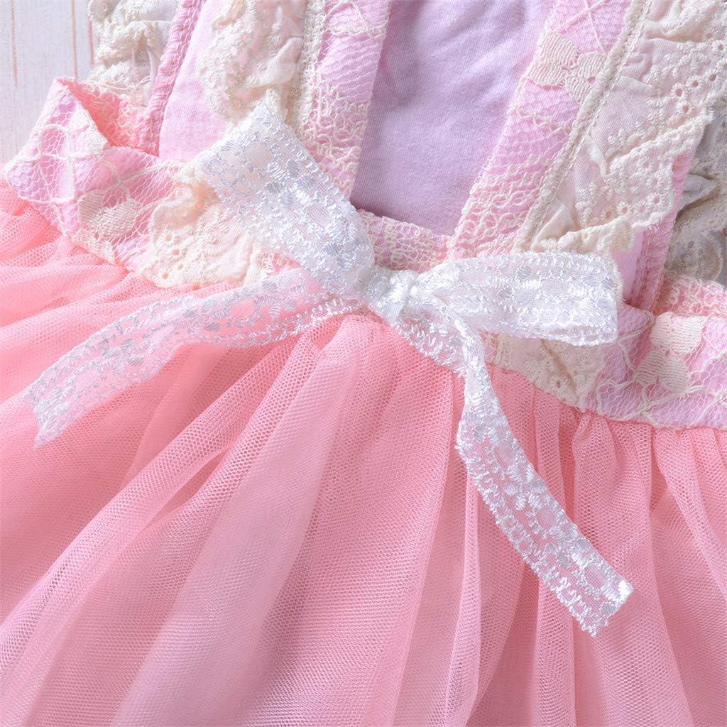 Toddler Girls Puff Dresses Kids Lace Splice Clothes Sleeveless Birthday Princess Dress