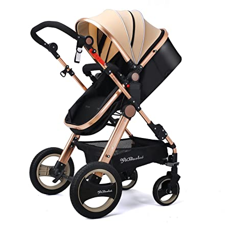 Amazon.com : YBL Luxury Urban Toddler Umbrella Baby Stroller Lightweight Newborn Baby Carriage Two-Way Four Rounds Folding with Basket Cup Holder : Baby