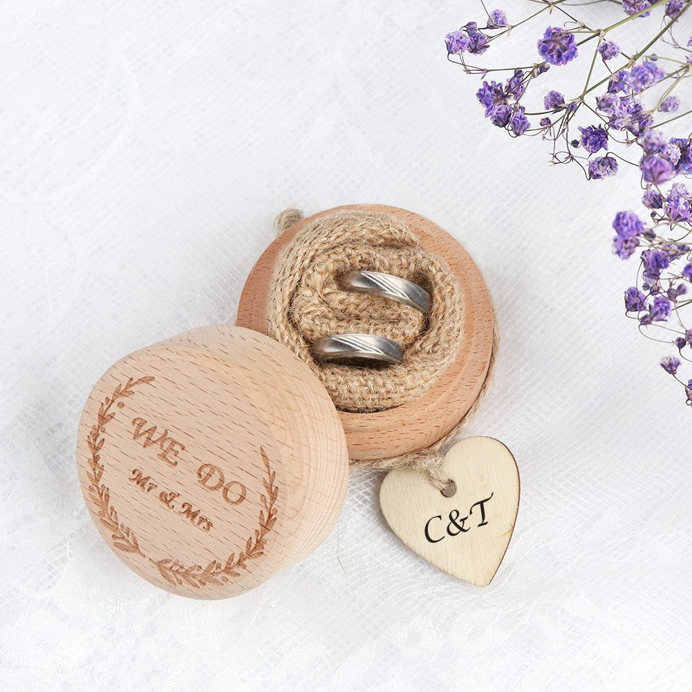 AerWo Creative Rustic Wedding Ring Bearer Box Wooden Engagement Ring Box with Love Heart Tags Wedding Gifts for Bride and Groom