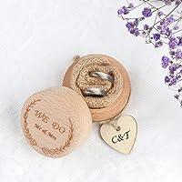 Aerwo personalizzato Rustic wedding Ring Bearer box scatola di legno anello di fidanzamento con amore cuore tag regali di nozze per sposa e sposo