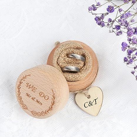 AerWo - Caja de madera para anillos de boda, diseño rústico, ideal para novias