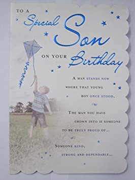 STUNNING TOP RANGE WONDERFULLY WORDED 5 VERSE TO A SPECIAL SON BIRTHDAY CARD