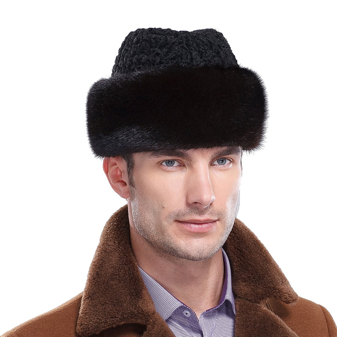 URSFUR Mink Fur Russian Cossack Hat with Lamb Fur Top (One Size, Natural Color)
