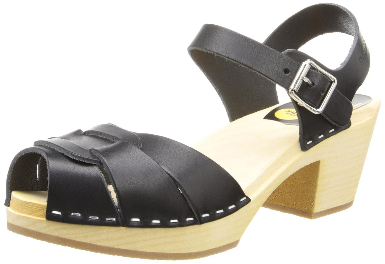 swedish hasbeens Women's Peep Toe High Clog B002T45DYI 10 B(M) US|Black