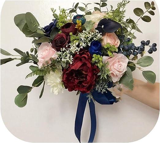 Amazon Com Burgundy Wedding Bouquets Pink Blue Rose Peonies