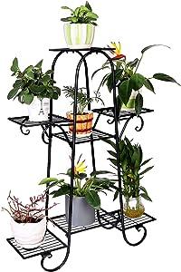 unho 7 Tier Plant Stands Indoor Metal Plant Shelf Stand Outdoor Multilayer Potted Planters Display Rack Patio Garden, Size: 66 x 22 x 102cm