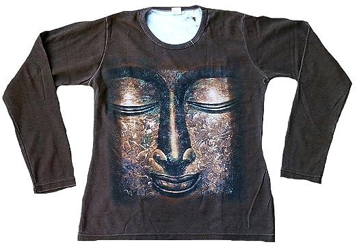 Rabatt zum Verkauf heiß seeling original professionelle Website Ticila Damen Langarm T-Shirt Braun Stonewash GOLD BUDDHA ...