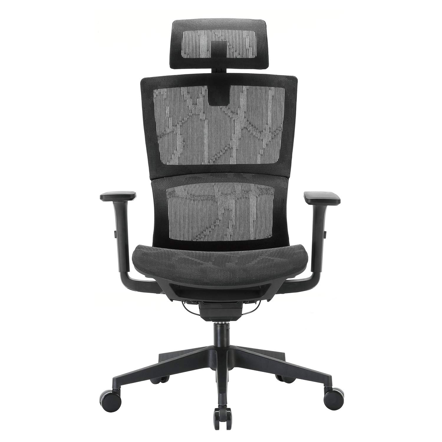 XUER Ergonomic Office Chair with Cozy Lumbar Support and Adjustable 3D Armrest, Computer Desk Chair with Mesh Seat and High Back, Multifunction for Relaxation (Black) by XUER