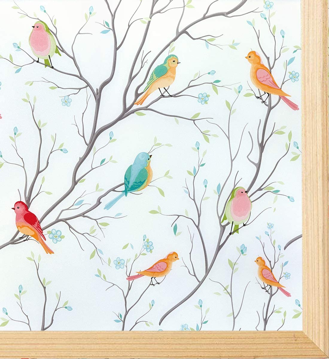 Coavas Window Film Birds Privacy Non-Adhesive Frosted Decorative Window Cling for Glass Anti UV Static Cling Opaque for Home Bathroom Shower Kitchen Rental Room Office 17.7 x 78.7 Inches