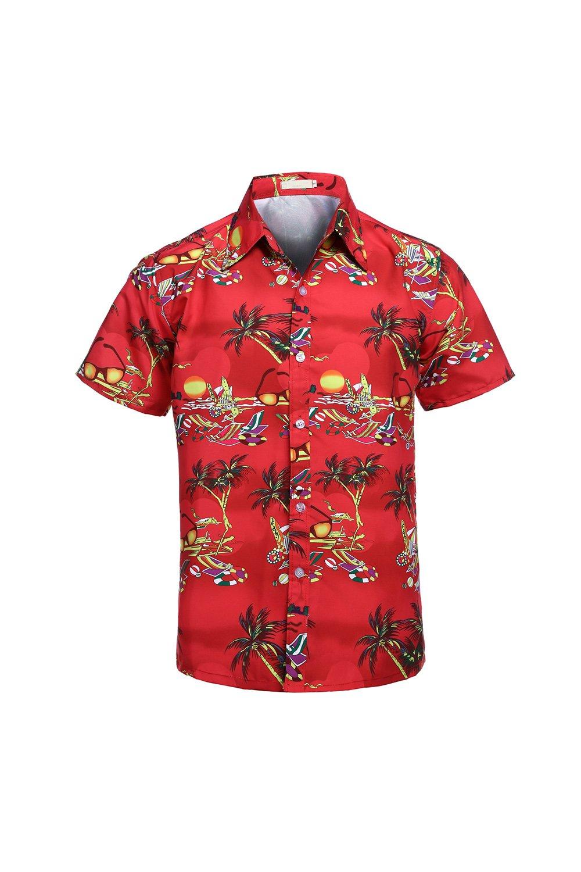 Yacun Hombres Camisas Hawaianas Cartoon Botón Casual Beach Aloha Tops Am00yS