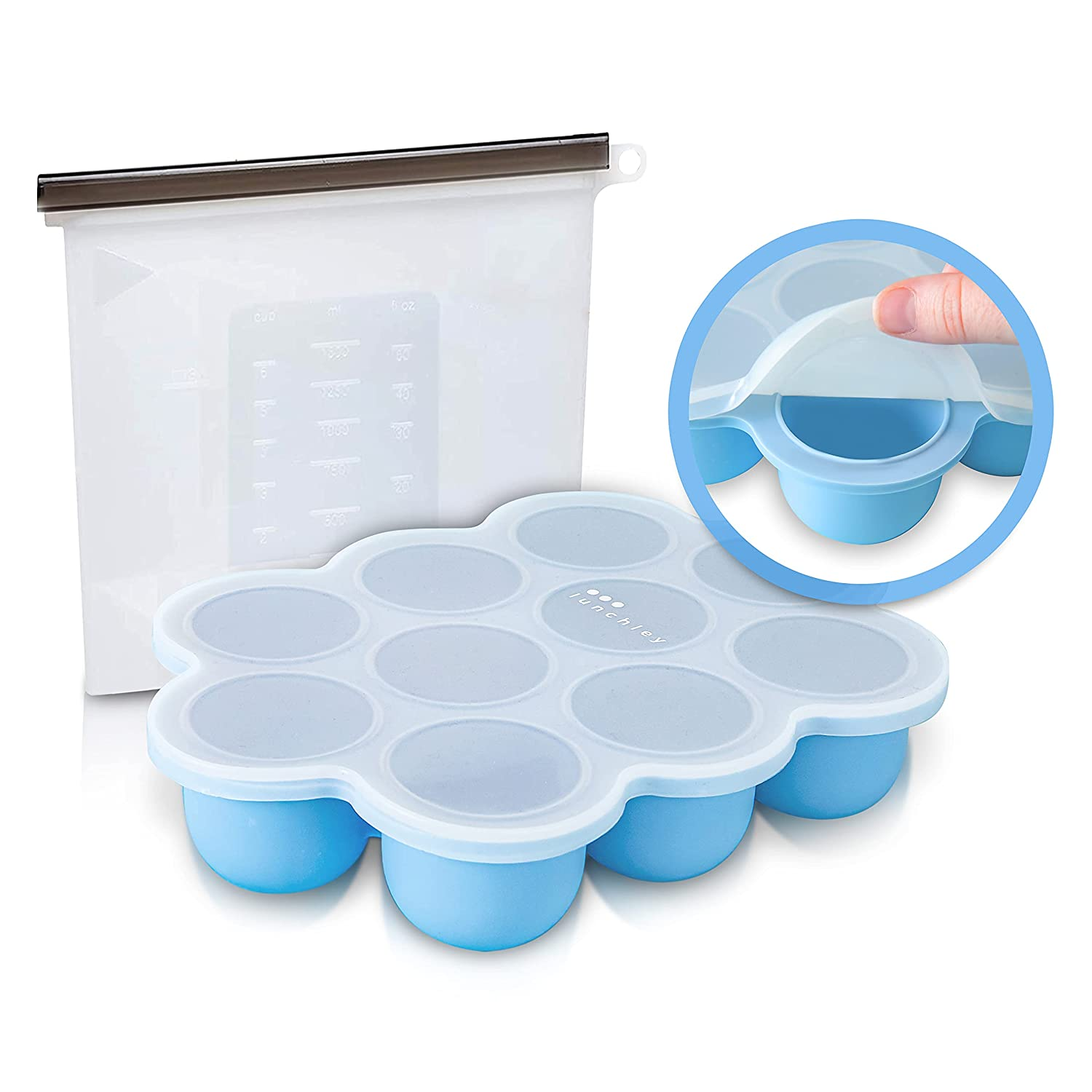 Baby Food Freezer Tray with Silicone Clip-On Lid Plus 1500ml Silicone Reusable Bag | The Perfect Storage Duo for Homemade Baby Food, Vegetable & Fruit Purees and Breast Milk (Cyan Blue)