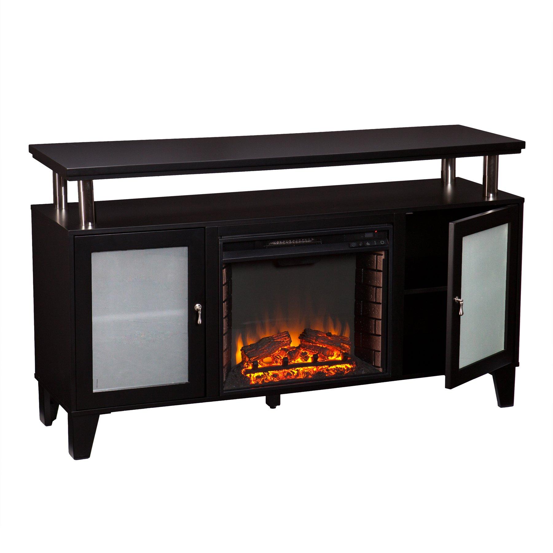 Southern Enterprises Cabrini Media Electric Fireplace 60'' Wide, Black Finish