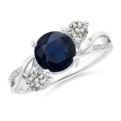 Angara Round Diamond Ring with Blue Sapphire Side Stone in Yellow Gold 5IcqFR1ne