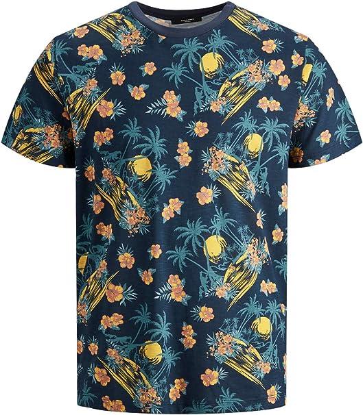 Jack & Jones - Camiseta para Hombre, diseño de Flores Azul L … …: Amazon.es: Ropa y accesorios