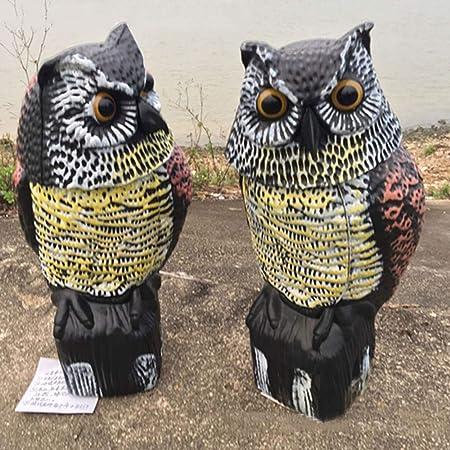 Repelente de Pájaros Búho, SUNJULY 2PCS Wind Action Owl Decoración de Jardín Caza Cebo Búho Ratón Repelente Espantapájaros con Cabeza Giratoria 360: Amazon.es: Hogar