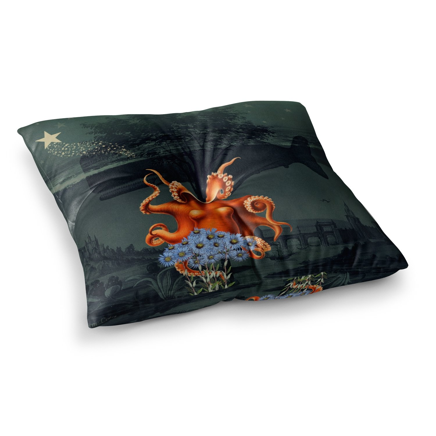 Kess InHouse Suzanne Carter Under The Deep Blue Sea Green Orange, 23' x 23' Square Floor Pillow
