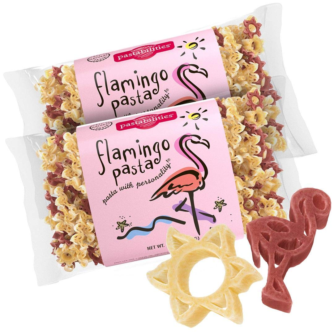 Pastabilities Flamingo Pasta, Fun Shaped Noodles for Kids & Gifts, Non-GMO Natural Wheat Pasta 14 oz (2 Pack)