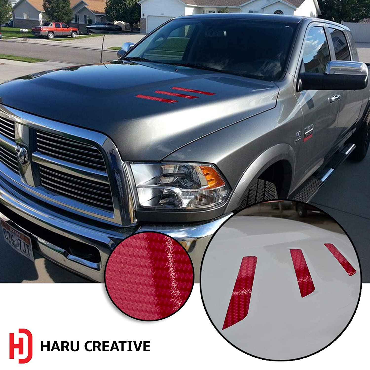 Haru Creative 2010-2018 Front Hood Grille Stripe Insert Overlay Vinyl Decal Sticker Compatible with and Fits Dodge Ram - 5D Gloss Carbon Fiber Black Loyo