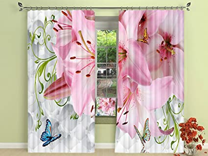 Amazon lb pink flower decor window curtains by butterflies are lb pink flower decor window curtains by butterflies are dancing on the lilies 3d effect mightylinksfo