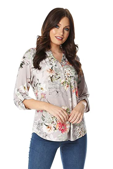 4ccf5189 Roman Originals Women Floral Jersey Shirt - Ladies Casual 3/4 Length  Sleeves Holiday Print Light Long Blouse for Summer Holiday Evening Special  Occasions ...