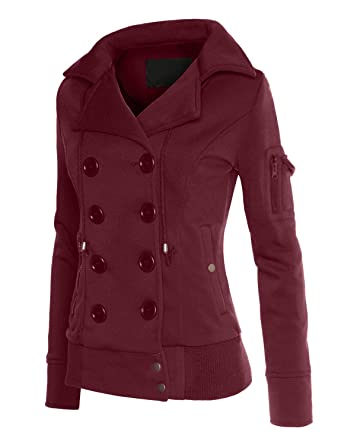 Amazon.com: RubyK Womens Classic Double Breasted Pea Coat Jacket ...