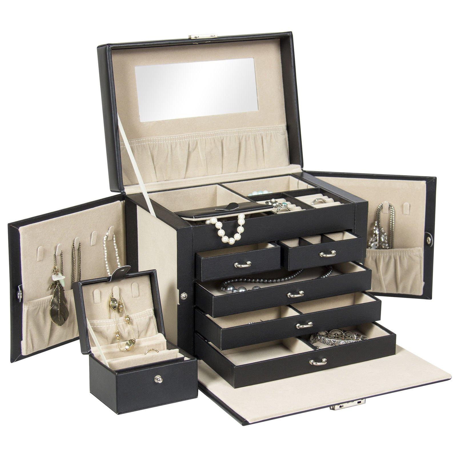 Eight24hours Leather Jewelry Box Organizer Storage W/Mini Travel Case