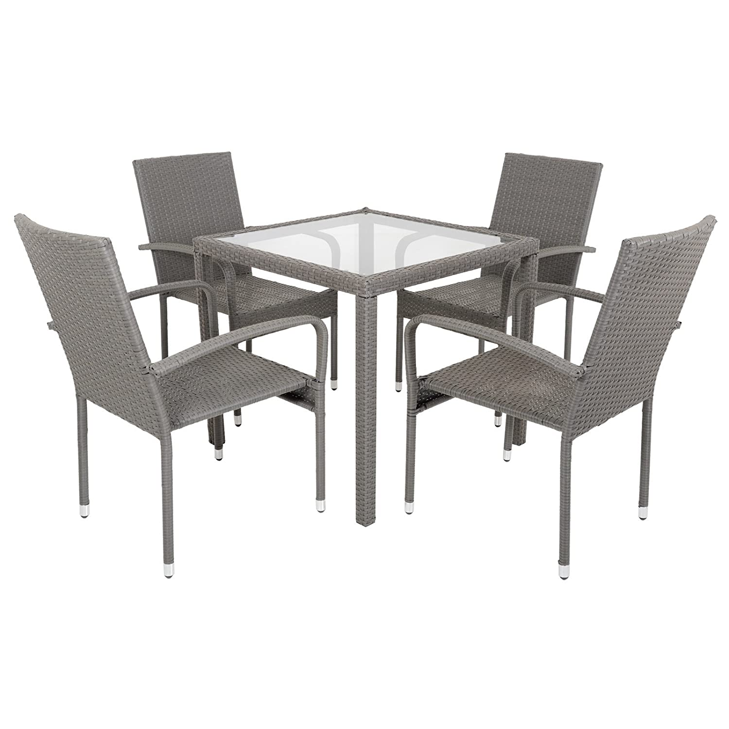Garden Modena Rattan Wicker Dining Table Set With Four Chairs