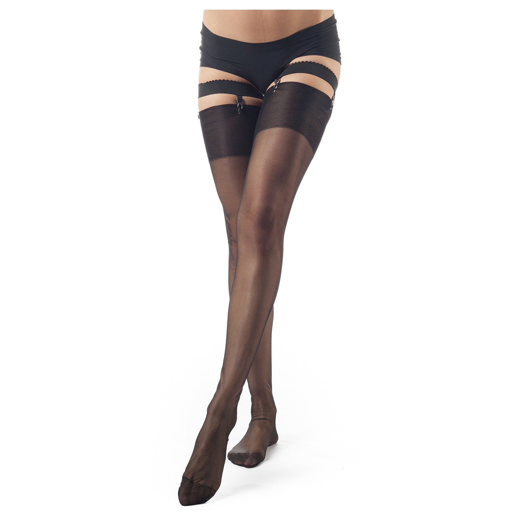 ElsaYX Women's Classic Pure Nylon Glossy Thigh High Stockings for use with Garter Belt Lingerie,3 Pairs-black/Beige/Grey,L (Height 5'2''-5'6'') by ElsaYX (Image #2)