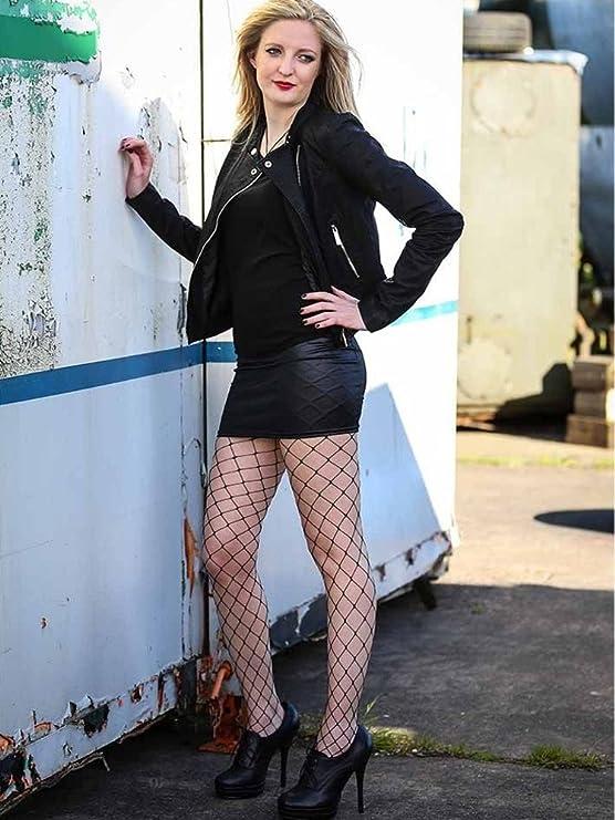 New Ladies Women Pamela Mann Black Extra Large Net Tights-Whale Net Tights