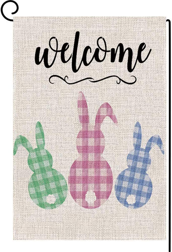 LANMEI Welcome Easter Garden Flag Double Sided Easter Bunny Vertical Burlap House Flags, Spring Rustic Farmhouse Yard Outdoor Decoration 12.5 x 18 Inch