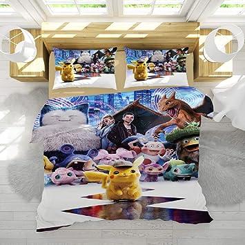 Copripiumino Pokemon.Jnsio Set Di Copripiumino Pikachu Anime Matrimoniali Cotone Beige