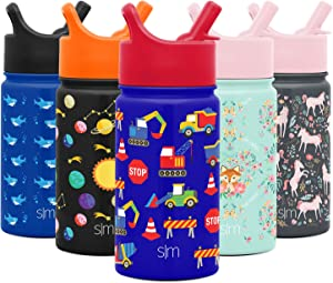 Simple Modern 14oz Summit Kids Water Bottle Thermos with Straw Lid - Dishwasher Safe Vacuum Insulated Double Wall Tumbler Travel Cup 18/8 Stainless Steel -Under Construction