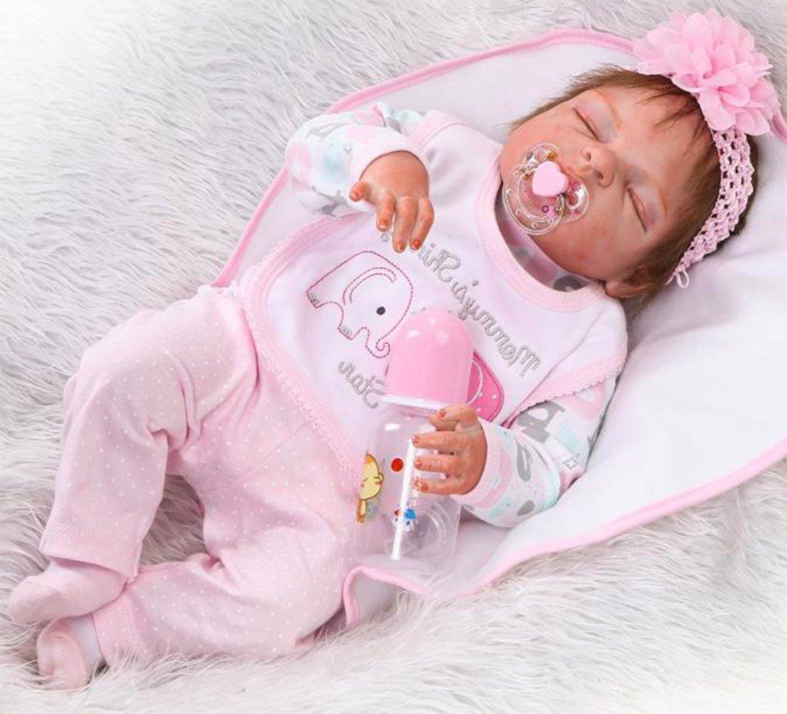 Amazon.es  NPK 57cm Reborn Bebé de Cuerpo Entero de Silicona de Vinilo  Babbo Hecho a Mano Cuerpo de la niña de la muñeca Rebote más Popular  Preferido Regalo ... 05b2c79493f0